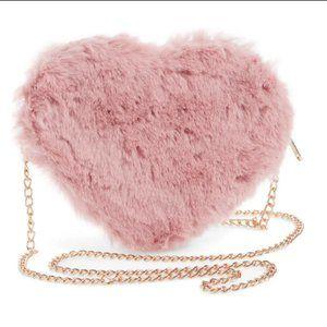 HEART Shaped BLUSH PINK Faux Fur Crossbody Bag
